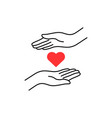 charity logo with thin line hand and heart vector image vector image