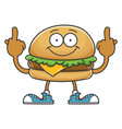 cheese hamburger giving middle fingers vector image vector image