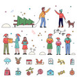 christmas traditions people and icon set vector image
