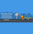 city tow truck banner horizontal concept vector image vector image
