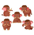 collection of the mammoth with different pose vector image vector image