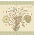Cute greeting card with abstract flowers in retro vector image vector image