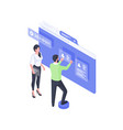 developers creating online user account isometric