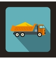 Dump truck icon flat style vector image