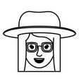 female face with hat and glasses and short vector image vector image