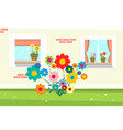 flowers in front of house wall vector image