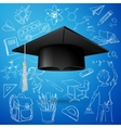 graduation cap and hand draw school icon vector image vector image