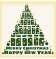 happy christmas and new year spruce stylized from vector image vector image