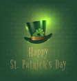 happy saint patrick day banner with green hat vector image