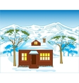 House in winter wood vector image vector image
