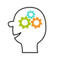 human head face icon line silhouette gears wheels vector image