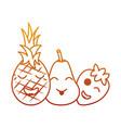 kawaii fruits cartoon pineapple pear and vector image vector image