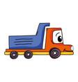kawaii happy drump truck transport vector image