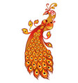 magic firebird on a white background vector image vector image