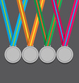 Many Silver Medals With Colorful Ribbon vector image