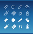 medication linear and silhouette icons vector image vector image