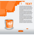 orange paint dripping on the wall editable vector image vector image