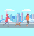 person with pet and woman walking in winter park vector image