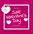 pink web banner template for valentines day sale vector image vector image