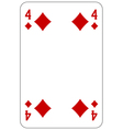 Poker playing card 4 diamond vector image vector image
