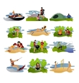 set of summer recreation concept design vector image vector image