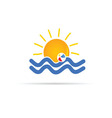 sun icon with beach ball color vector image vector image