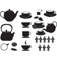 Tea cups and objects vector image vector image