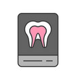 tooth x ray film dental related icon filled vector image vector image