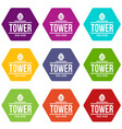 tower old age icons set 9 vector image vector image