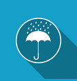 umbrella and rain drops icon with long shadow vector image vector image