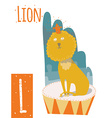 vertical of lion with colorful circus background vector image vector image