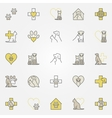 veterinary medicine colored icons vector image