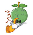 with trumpet guava mascot cartoon style vector image