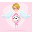 Woman holding a clock vector image