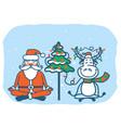 yoga christmas card santa and bull meditation vector image