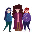 young group women with glasses female character vector image vector image