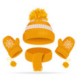 realistic 3d hat with a pompom scarf and mitten vector image