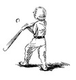 Hand sketch of a little boy playing baseball vector image