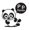 P Panda cartoon and alphabet for children to vector image
