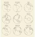 Sketch globe America Africa Europe Asia Australia vector image
