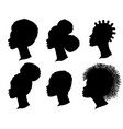 african american women profile black silhouette vector image