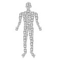 alarm clock human figure vector image vector image