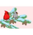 birds on a tree branch vector image vector image