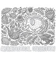 black and white collection of cartoon triceratops vector image vector image