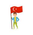 boy holding national flag of turkey design vector image vector image