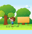 boy watering flowers in the park vector image vector image