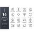 business intelligence line icons set black vector image