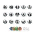business success icons - metal round series vector image vector image