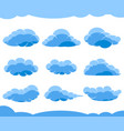 cartoon blue clouds isolated on white vector image