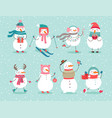 christmas set with cute snowmen vector image vector image